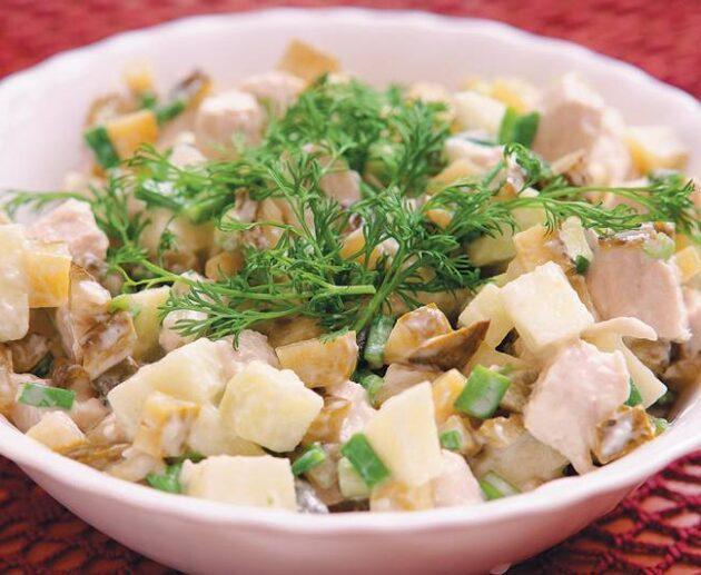 sēņu salāti ar āboliem
